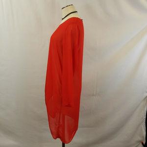 CSC Studio Tops - CSC Studio Red Sheer High Low Tunic Blouse